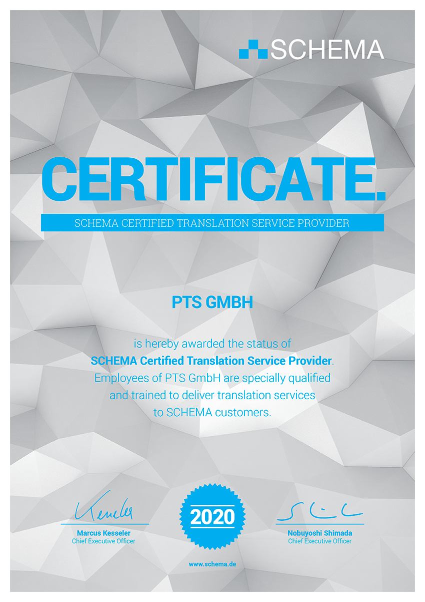 Certificate confirming PTS GmbH as a certified translation service provider for the SCHEMA ST4 editorial system.